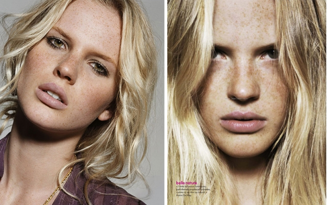 Анна Вялицина. Модель снялась без макияжа для французского Elle.