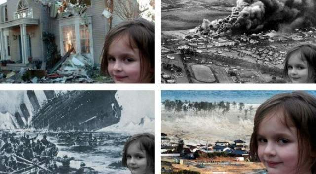 Фотография в соцсетях стала невероятно популярной. Так «поджигательница» (Disaster girl) мгновенно стала мемом. Лицо Зои монтировали к фотоснимкам разрушительных природных катаклизмов, аварий и катастроф.