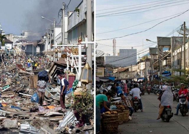 Первое фото было сделано на третий день после цунами 2004 года, жители стоят возле огромной кучи мусора, полностью покрывшего улицу Банда-Ачех, справа фото того же места, 27 ноября 2014.