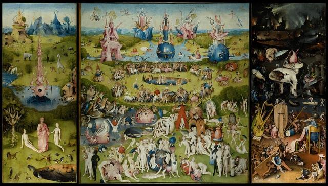 «Сад земных наслаждений» Это самый известный и пугающий триптих Иеронима Босха. На сегодняшний день существует множество толкований картины , но ни одно их них не было окончательно подтверждено. Возможно, произведение Босха олицетворяет Райский сад, Сад земных наслаждений и Наказания, которые придется понести за смертные грехи, совершенные при жизни.