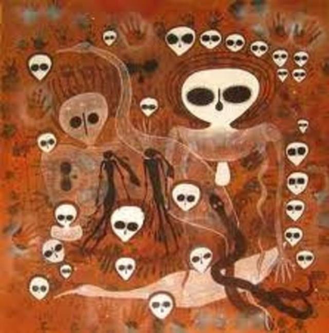 Темы изображений все те же: боги со странными лицами и ореолом лучей вокруг головы.