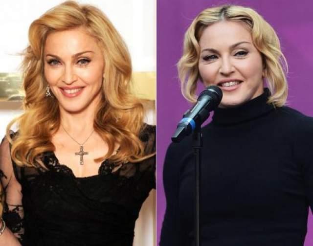 Мадонна В погоне за молодостью Мадонна не раз ложилась под нож хирурга, но такого одутловатого лица королевы поп-музыки, как 1 июня 2013 года (справа), ее поклонники не видели никогда.