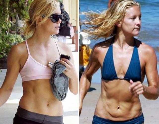 Кейт Хадсон Кейт - одна из самых привлекательных девушек в Голливуде. Но во время пробежки по гавайскому пляжу она демонстрировала свой дряблый живот. Впрочем, чуть позже Кейт все-таки удалось прийти в форму и вернуть былую красоту.