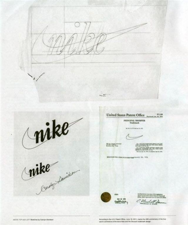 За работу ей заплатили всего $35, а когда компания стала уже признанным международным производителем спортивных изделий, владелец подарил Кэролин Дэвидсон бриллиантовое кольцо в виде символического росчерка, а также полный набор товаров от Nike.