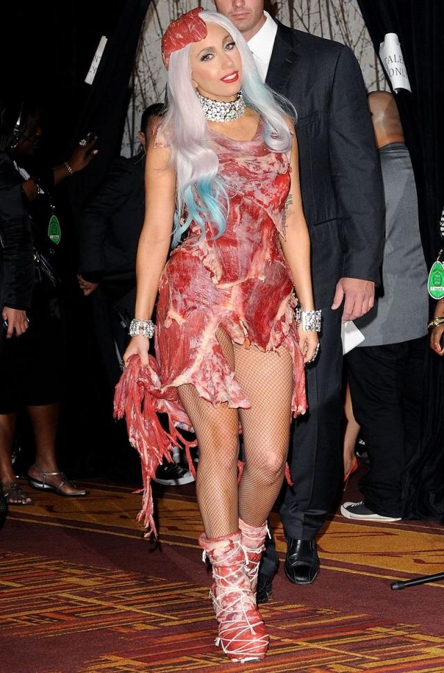 Пожалуй, больше всего общественность обсуждала ее платье из кусочков говядины, которое певица надела на церемонию награждения музыкальной премии MTV Video Music Awards. Особенно негодовали защитники животных.