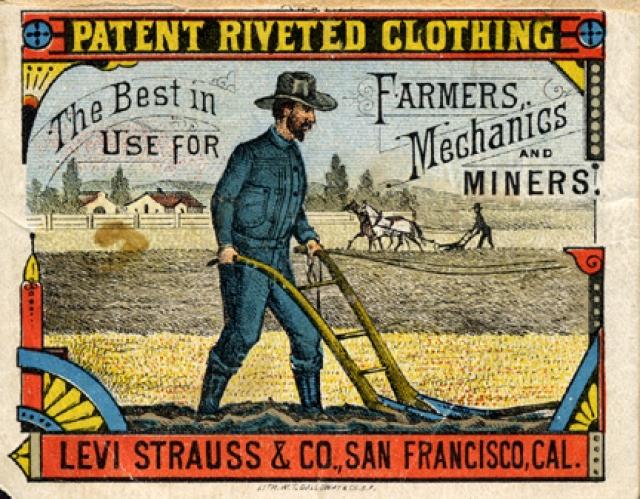 Впервые изготовлены в 1853 г. Леви Страуссом в качестве рабочей одежды для фермеров. Первоначально джинсы шили из конопляной парусины итальянского или французского производства, значительно подешевевшей ввиду упадка парусного флота.