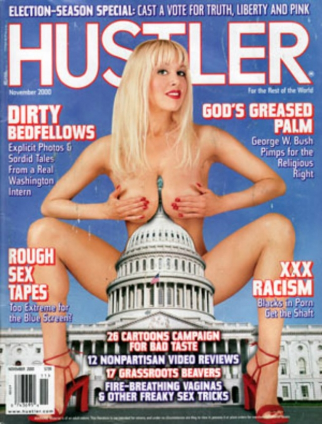 Ноябрьский выпуск Hustler 2000 года был посвящен выборам президента США. Читателям предлагается узнать о связи Джорджа Буша-младшего с правыми религиозными деятелями и положении афроамериканцев в порноиндустрии.