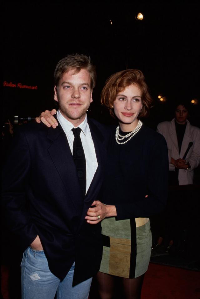 """Кифер Сазерленд и Джулия Робертс. Роман с актером, с которым работала на съемочной площадке фильма """"Коматозники"""", Робертс закрутила после съемок в """"Красотке""""."""