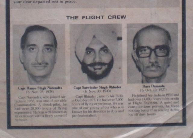 Бортинженер - 57-летний Дара Думасиа. Проработал в авиакомпании Air-India 30 лет. В качестве бортинженера управлял самолетом Boeing 707. В должности бортинженера Boeing 747 - с 6 февраля 1974 года.