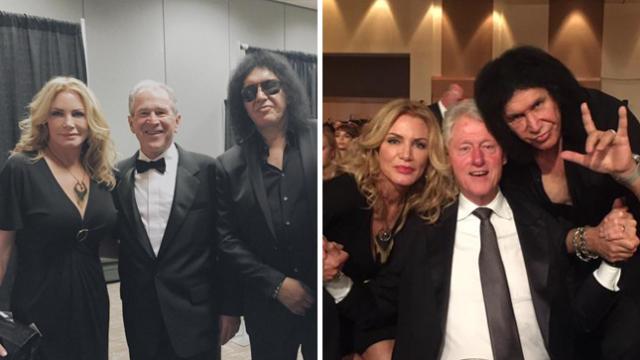 Джин Симмонс (Kiss) и Джордж Буш (и Билл Клинтон). Бас-гитаристу нашлось о чем побеседовать с бывшими президентами США на одном из благотворительных вечеров в 2015 году.