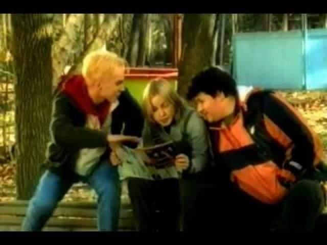 """Вячеслав Манучаров, Мария Шалаева и Андрей Чадов, реклама батончика """"Финт""""."""