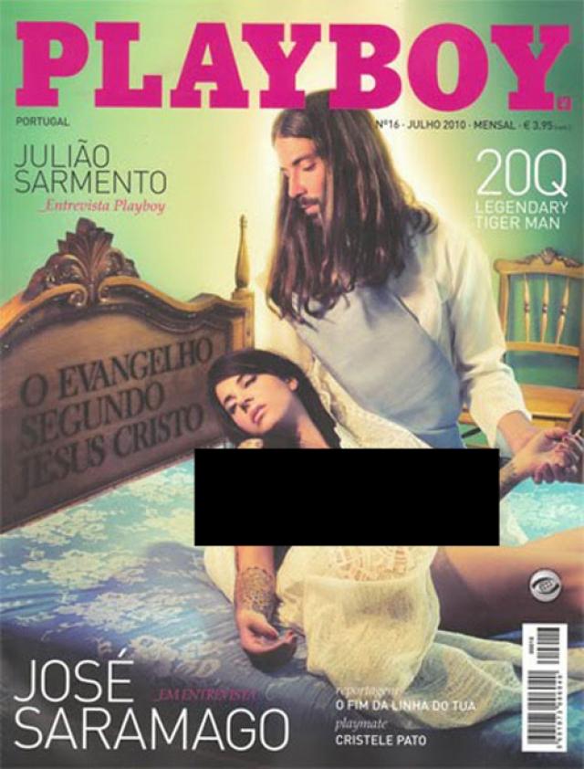 """Португальский Playboy в номере за июль 2010 года решил почтить память писателя Хосе Сарамаго, автора романа """"Евангелие от Иисуса"""", соответствующими картинками с отсылками к библейским сюжетам."""