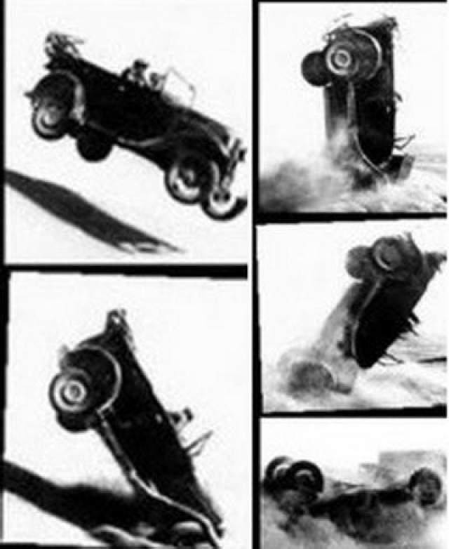 В кадре автомобиль, за рулем которого находился главный герой, как на трамплине, влетал над барханом (семки проходили в песках) и падал на землю. Первый дубль был снят удачно, но актеру он не понравился - он настоял на втором, во время которого машина, подпрыгнув: упала на крышу.