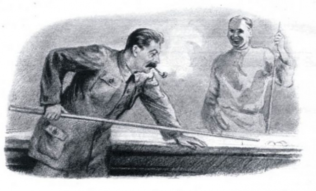 """На даче даже был общепринятый обычай: проигравшие, даже самых высоких чинов, должны были пролезть под бильярдным столом. Кстати, завсегдатаем """"подстолья"""" был Хрущев, который в бильярд играл неважнецки."""
