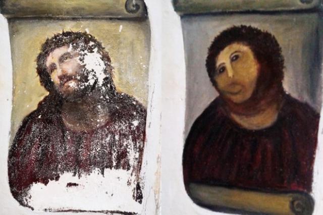 """Она взялась с благословения настоятеля храма за реставрацию работы """"Се человек"""", но что-то пошло не так. Когда спустя два года после начала реставрации работу увидели специалисты, они пришли в ужас и признали ее актом вандализма."""