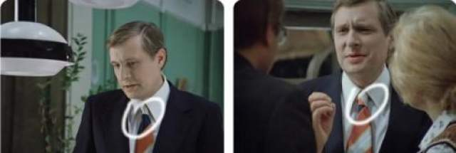 Типичная ошибка: при многодневной съемке одной длинной сцены нужно выбирать однотонный галстук.