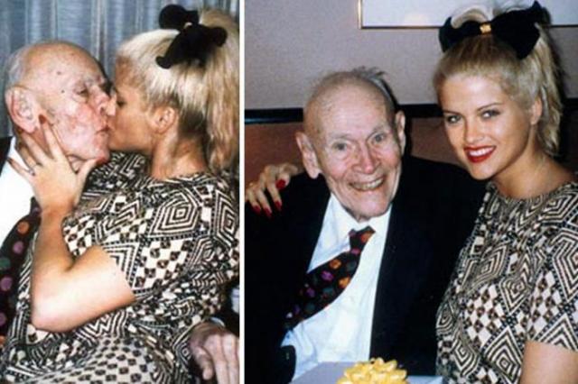 """Джей Ховард Маршалл. Нефтяной магнат и миллиардер не устоял перед стриптизершей и начинающей звездой """"Плейбоя"""" Анной Николь Смит. 24-летняя девушка всех убеждала, что действительно влюблена в почти 90-летнего мужчину."""