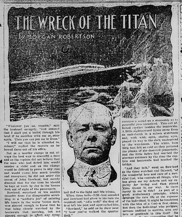 """Холодной апрельской ночью пароход столкнулся с айсбергом и затонул, унеся с собой более тысячи жизней. Бурная фантазия Робертсона оказалась кошмарным пророчеством: в ночь на 14 апреля 1912 г. в Атлантике при аналогичных обстоятельствах погиб """"Титаник"""". Более того, у """"Титаника"""" и его литературного предшественника были почти идентичные технические характеристики."""