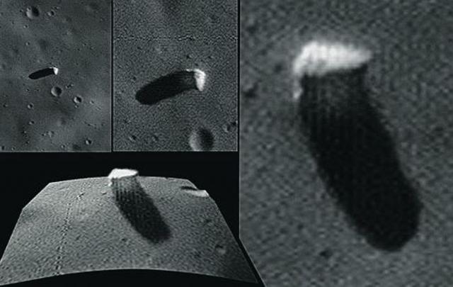 """Объект, похожий на башню или купол, был обнаружен в 1998 году на снимках, сделанных исследовательской станцией """"Марс Глобал Сервейор"""". """"Монолит"""" возвышается на стороне, повернутой к Марсу."""