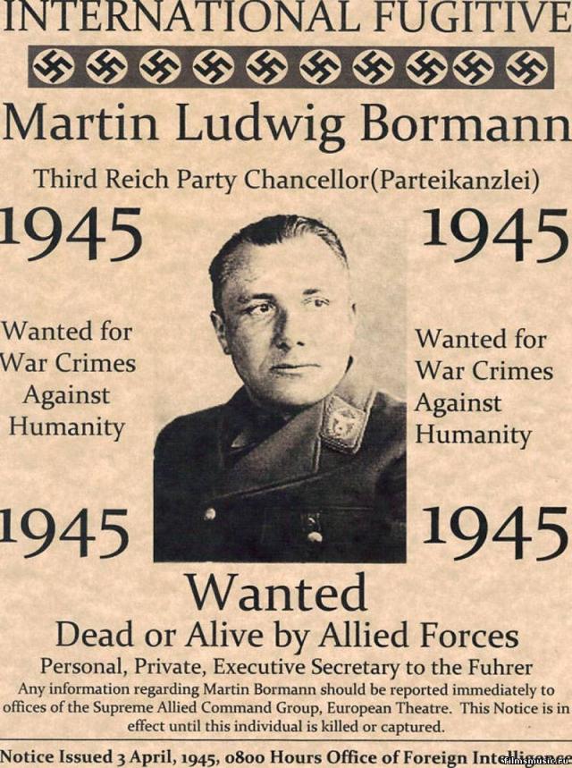 Первым, кто начал официально разыскивать Борман был британский майор Ричард Хортин, который распорядился отпечатать 200 000 листовок с портретом находившегося в бегах преступника. О нем постоянно напоминали газеты и радио, но тщетно.