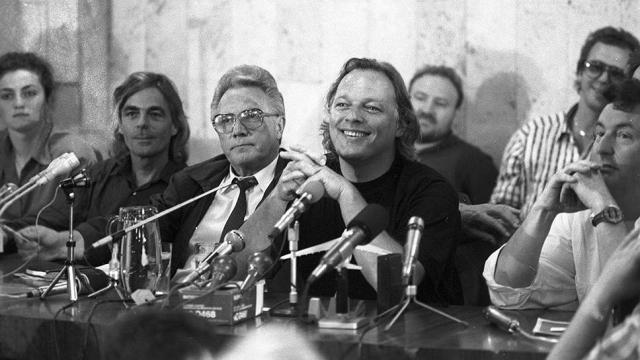 Музыканты Pink Floyd на пресс-конференции.