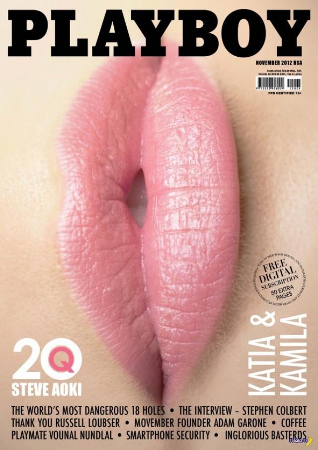 В 2012 году издание журнала Playboy в ЮАР вышло с красивой яркой обложкой, на которой были изображены накрашенные розовой помадой пухлые женские губы. В перевернутом виде они были расценены всеми как намек на другой орган.