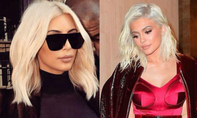 Своим сходством родственницы пользуются не только на модных выходах. В 2017 году они выпустили совместную линейку для нюдового макияжа, на фото для которых были практически неотличимы друг от друга. А когда Ким покрасилась в блондинку, Кайли тут же изменила и свой цвет волос.