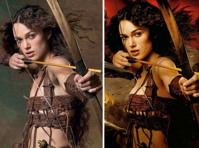 Кира Найтли. Видимо, кинопродюсерам собственной груди актрисы оказалось мало.
