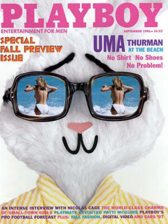 На обложке этого выпуска Playboy оказались фото Умы Турман топлесс, снятые папарацци без ее ведома.