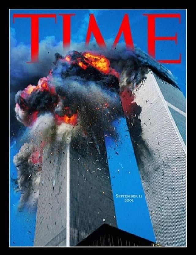 TIME, сентябрь 2001. Снимок горящих башен ВТЦ сделан Лайлом Оверко.