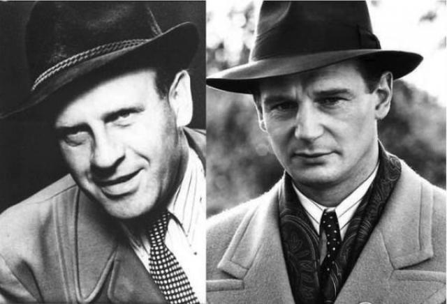 """Оскар Шиндлер и Лайам Нисон , """"Список Шиндлера""""."""