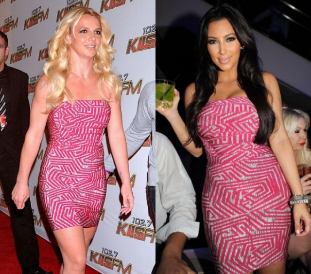 Одинаковое с Ким платье выбрала и Бритни Спирс .