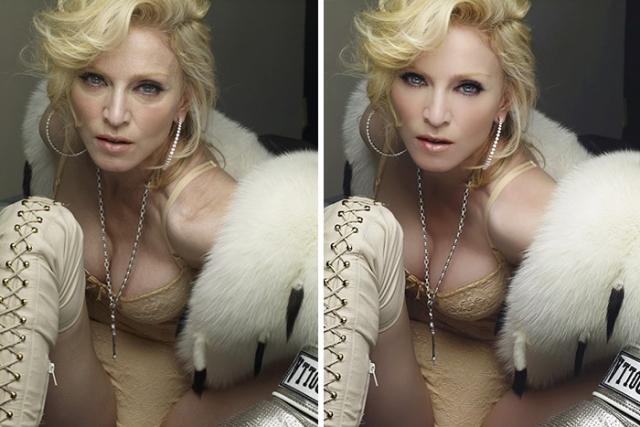"""Мадонна. Бесспорно, поп-дива находится в прекрасной для своих лет форме, но для ретуши возрастных особенностей кожи фотографы и редакторы используют """"Фотошоп"""" на полную катушку."""