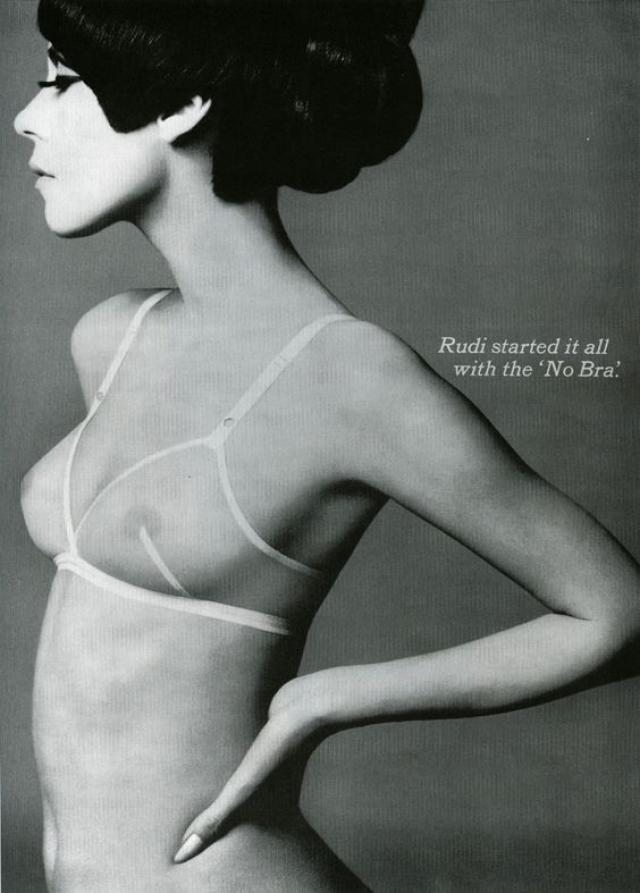 Именно тогда модельер Руди Гернрайх ввел в моду свой бюстгальтер-невидимку - стрейч-модель, лишенную косточек и чашечек.