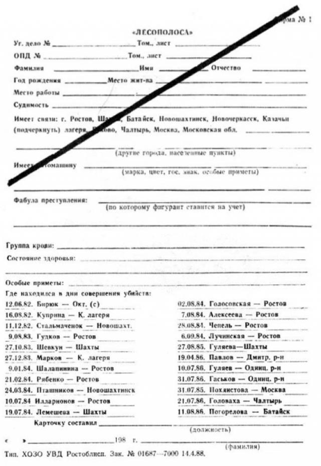 Операция проходит с большим размахом в трех городах: Шахтах, Ростове и Новочеркасске. В её ходе было раскрыто более тысячи различных преступлений, на причастность к делу проверены свыше 200 тысяч человек, выявлено множество лиц с сексуальными и психическими отклонениями.