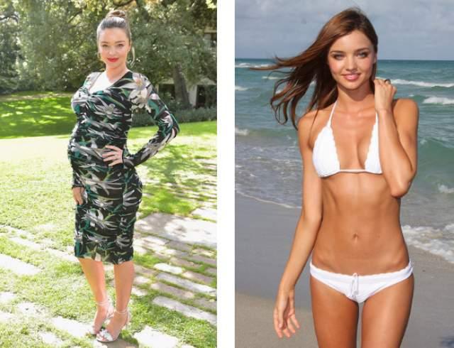 Миранда Керр, 35 лет. За два месяца модели и матери двоих детей удалось скинуть 18 кг, набранных за время беременности.