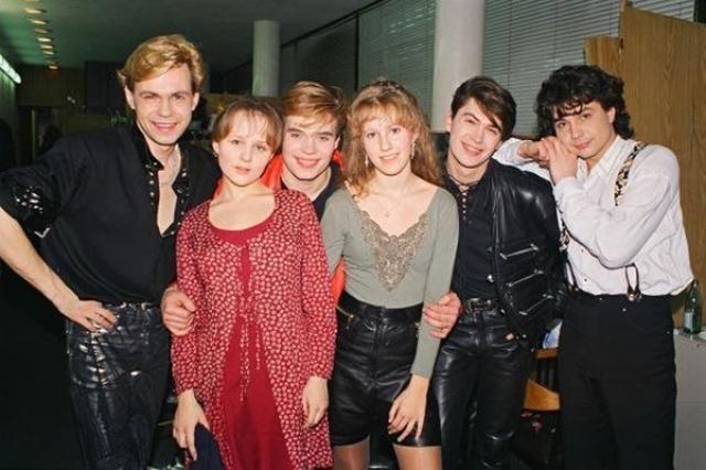 """А это """"стильная"""" Ксения Собчак с совсем еще юными участниками группы """"На-На"""""""