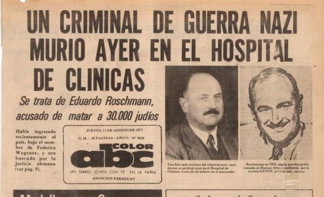 Однако поиски Рошмана в Европе продолжались, и в 1977 году аргентинские власти были вынуждены выдать ордер на его арест. Он снова бежал, на этот раз в Парагвай, где и умер в том же году.