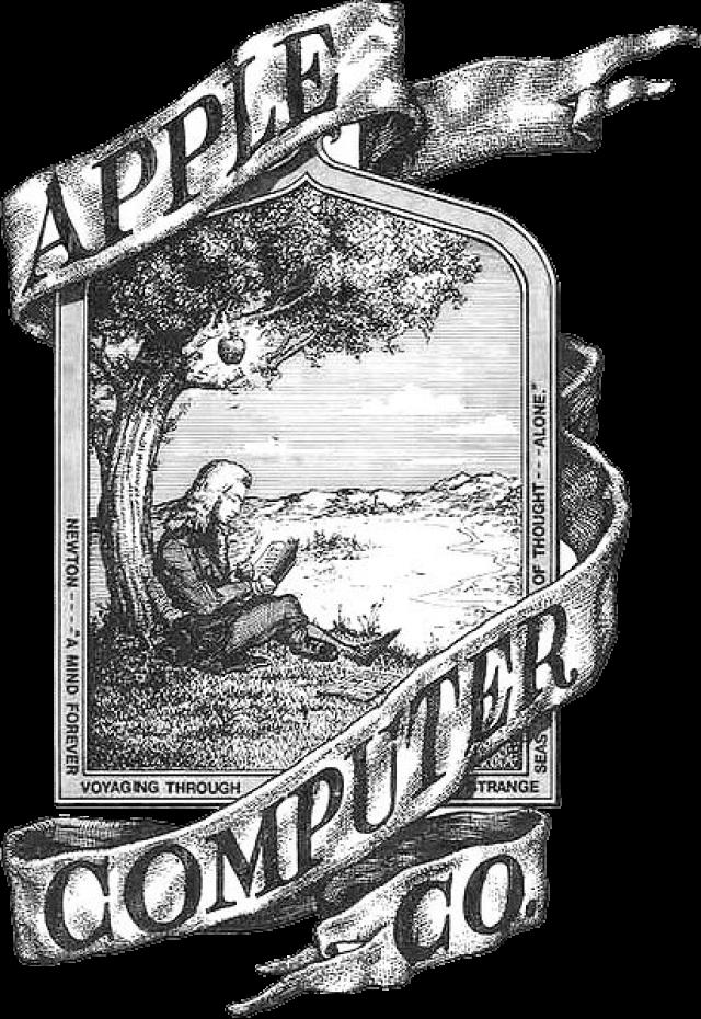 Apple. 1 апреля 1976 года Apple основали Стив Джобс и Стивен Возняк, а также их товарищ Рональд Уэйн, вложивший 10% начального капитала и придумавший первый логотип фирмы, на котором был изображен Ньютон, сидящий под яблоней, на которой висит яблоко в ореоле.