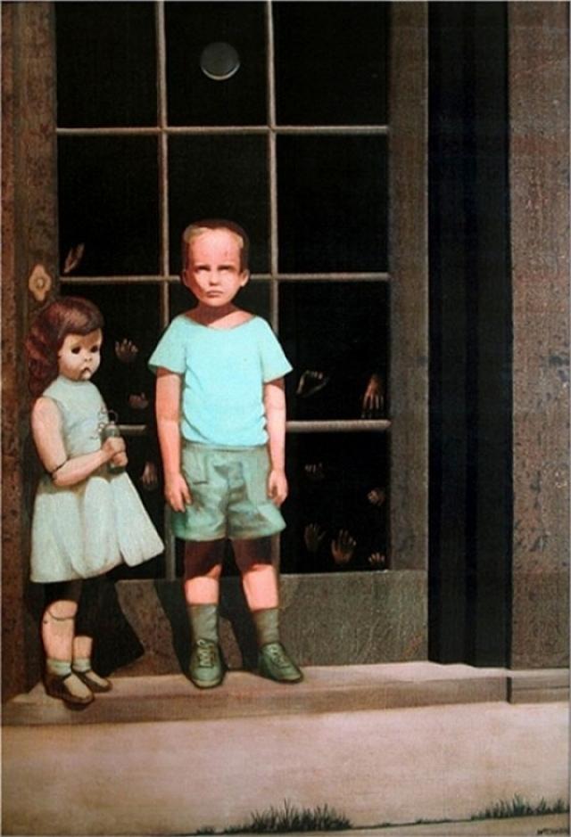 """""""Руки противятся ему"""", Билл Стоунхэм. Вокруг картины с мальчиком, куклой и ладонями, прижатыми к стеклу, ходят легенды, часто ее даже считают приносящей смерть."""