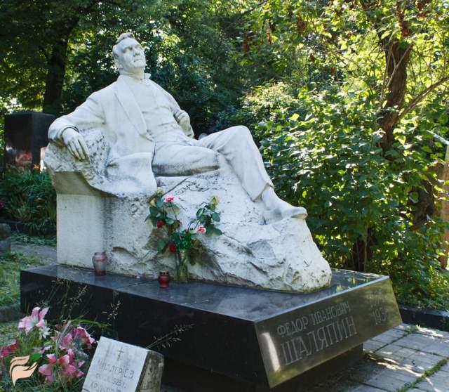 Федор Шаляпин скончался 12 апреля 1938 г., был похоронен на кладбище Батиньоль, но в октябре 1984 г. его прах перенесли на Новодевичье кладбище в Москве, где и открыли памятник, выполненный скульптором Алексеем Елецким.