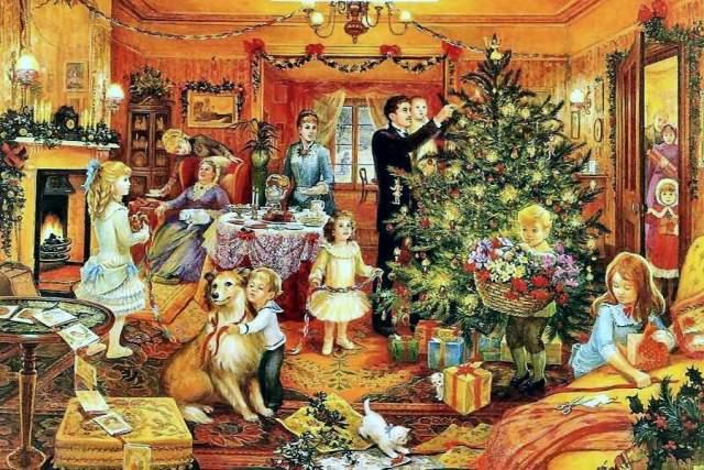 """На иллюстрации к рассказу The Christmas Mummers (1858) Шарлотты Йонг (Charlotte Yonge) изображены мальчики, поющие рождественский гимн, а под картинкой - знакомые слова: """"I wish you a merry Christmas And a happy New Year, A pantryful of good roast-beef, And barrels full of beer""""."""