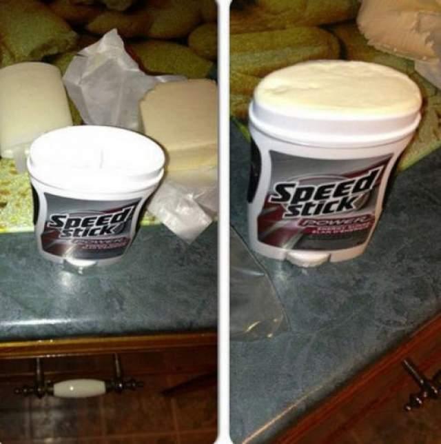 Масляный дезодорант Заранее позаботьтесь о том, чтобы заменить вечером дезодорант сливочным маслом или густым застывшим кремом.