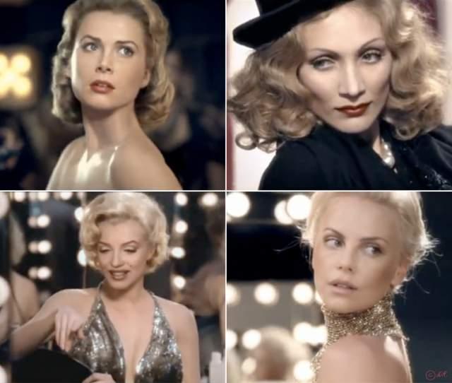 J'adore от Dior (2011). Грейс Келли и Мерилин Монро сыграли вместе с Шарлиз Терон в рекламном ролике, посвященном выходу нового аромата.