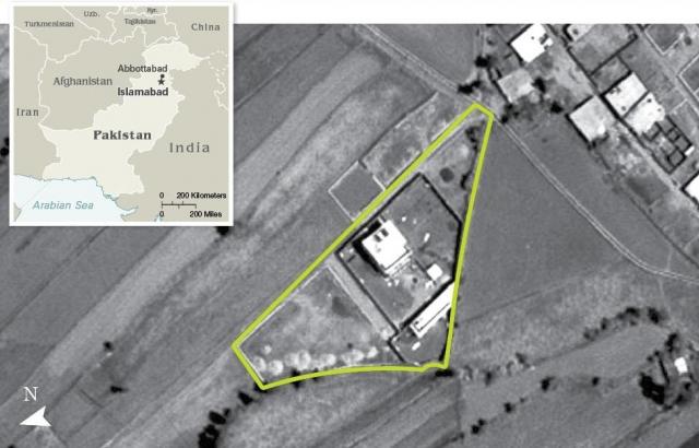 Укрытие располагалось в 1,3 км к юго-западу от Пакистанской военной академии, на земельном участке, в восемь раз большем, чем у соседних домов, и было окружено бетонными стенами высотой 3,7-5,5 м с колючей проволокой.