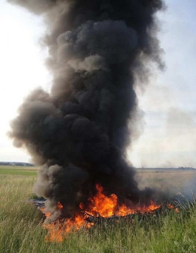 """Очевидцы сообщают о громком шуме, доносившемся с неба, до того как они увидели """"огненный шар"""" незадолго до его падения на луг возле аэродрома. """"Мы слышали крики пилота, когда огонь начал усиливаться. Это было ужасно"""" - сказал один из них."""
