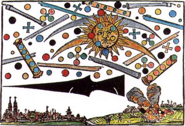 """Ганс Глайзер, по его же словам, запечатлел """"невероятно страшное зрелище"""", увиденное им в небе над Нюрнбергом утром 4 апреля 1561 года. На рисунке изображен черный, похожий на ракету объект, пролетающий высоко над городом."""