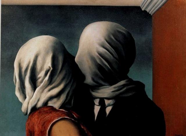 """""""Влюбленные"""", Рене Магритт. Двумя фигурами без лиц художник передал идею о слепоте любви."""