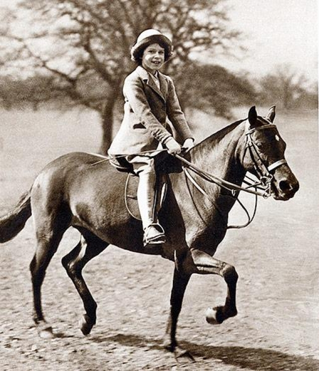 Королева умеет кататься на лошади Она является заводчицей множества чистокровных скакунов, часто приходит посмотреть на соревнования по конному спорту, а также на скачки, в которых участвуют ее кони.
