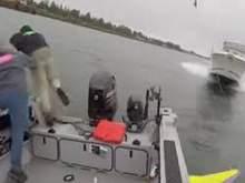 Американские рыбаки спаслись за секунду до столкновения с катером